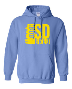 blue San Diego born and bred hoodie
