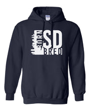 Load image into Gallery viewer, navy San Diego born and bred hoodie