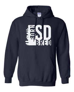 navy San Diego born and bred hoodie