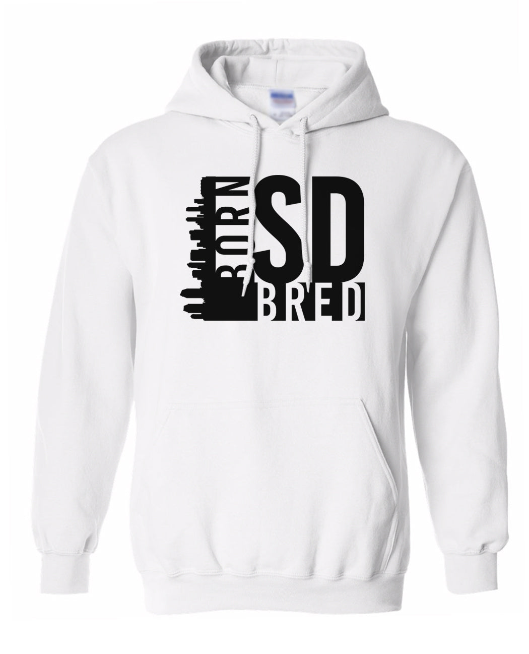 white San Diego born and bred hoodie