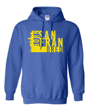 Load image into Gallery viewer, blue San Fransisco Born and bred hoodie
