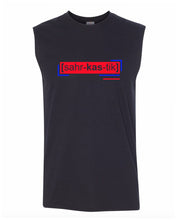 Load image into Gallery viewer, florescent red sarcastic men's sleeveless tee tank top