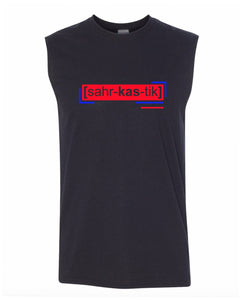 florescent red sarcastic men's sleeveless tee tank top