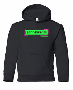 florescent green sarcastic youth kids neon streetwear hooded sweatshirt