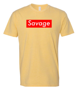 yellow savage crewneck t shirt