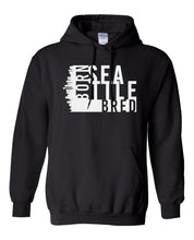 Load image into Gallery viewer, black Seattle born and bred hoodie