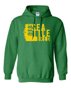 green Seattle born and bred hoodie