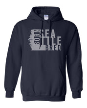Load image into Gallery viewer, navy Seattle born and bred hoodie