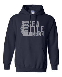 navy Seattle born and bred hoodie