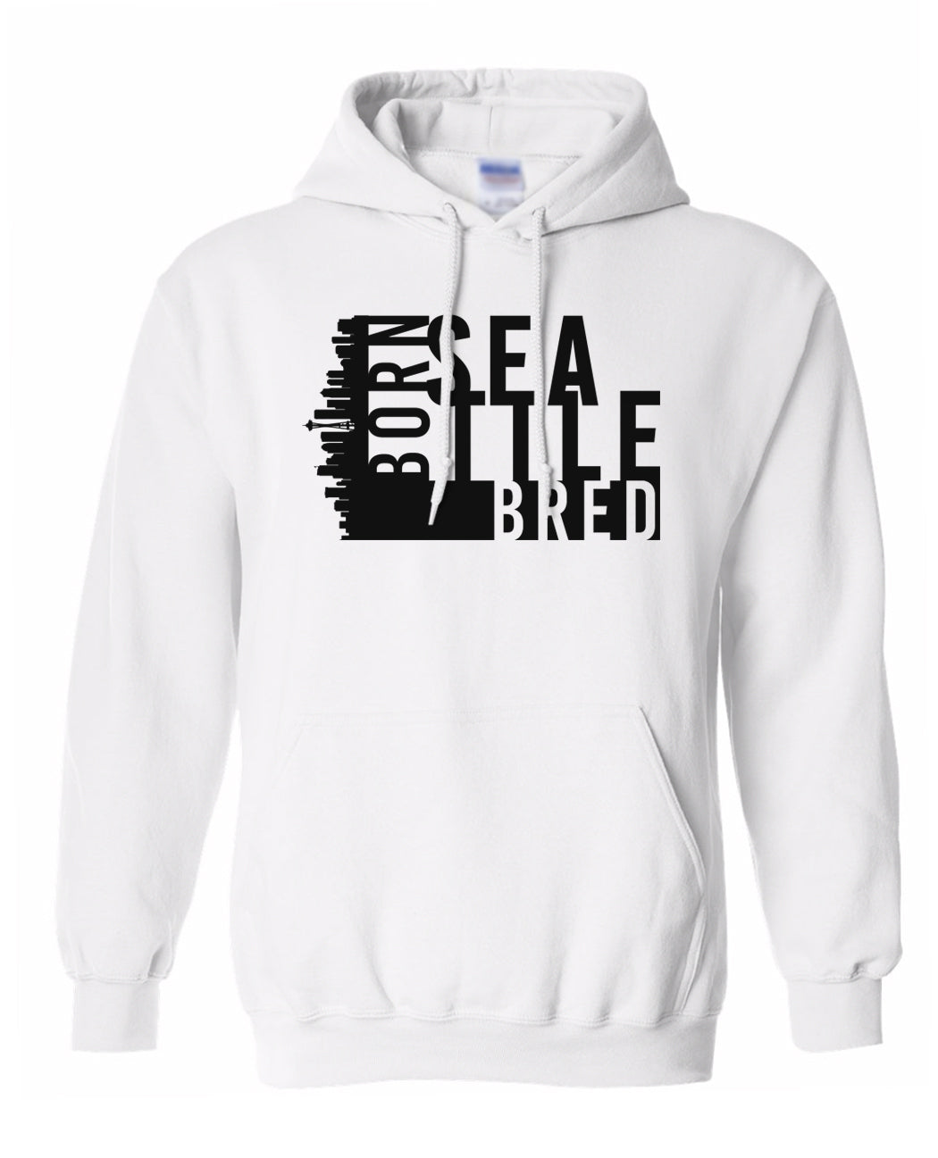 white Seattle born and bred hoodie