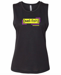 florescent yellow selfish neon streetwear tank top for women