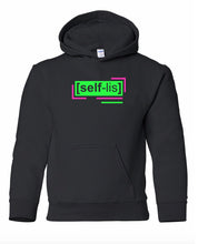 Load image into Gallery viewer, florescent green selfless youth kids neon streetwear hooded sweatshirt