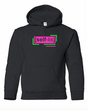 Load image into Gallery viewer, florescent pink selfless youth kids neon streetwear hooded sweatshirt
