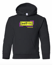 Load image into Gallery viewer, florescent yellow selfless youth kids neon streetwear hooded sweatshirt