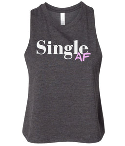 charcoal single AF women's cropped tank top