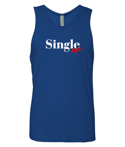 blue single AF mens tank top