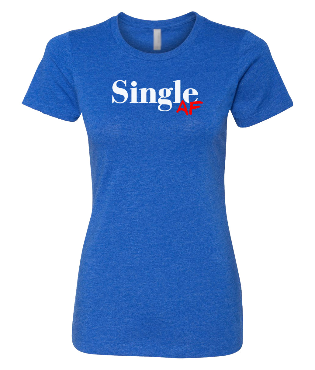 royal single AF crewneck women's tee