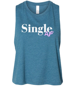 teal single AF women's cropped tank top