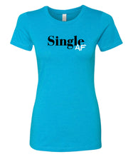 Load image into Gallery viewer, turquoise single AF crewneck women's tee