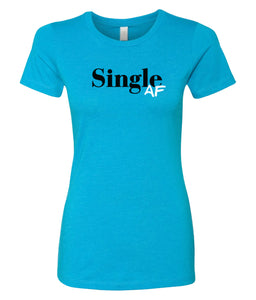 turquoise single AF crewneck women's tee