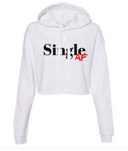 Load image into Gallery viewer, white single AF cropped hoodie