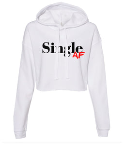white single AF cropped hoodie