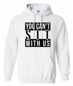 white sit with us hoodie