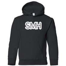 Load image into Gallery viewer, black SMH youth hooded sweatshirt for boys