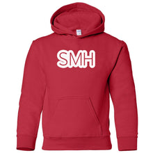 Load image into Gallery viewer, red SMH youth hooded sweatshirt for boys