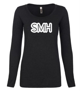 black SMH long sleeve scoop shirt for women