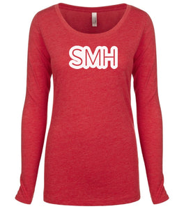 red SMH long sleeve scoop shirt for women