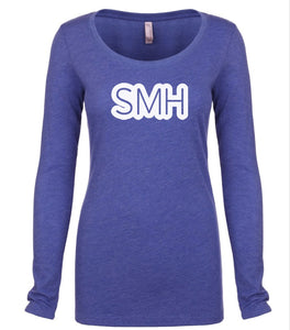 blue SMH long sleeve scoop shirt for women