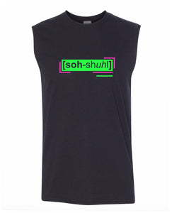florescent green social men's sleeveless tee tank top
