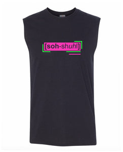 florescent pink social men's sleeveless tee tank top