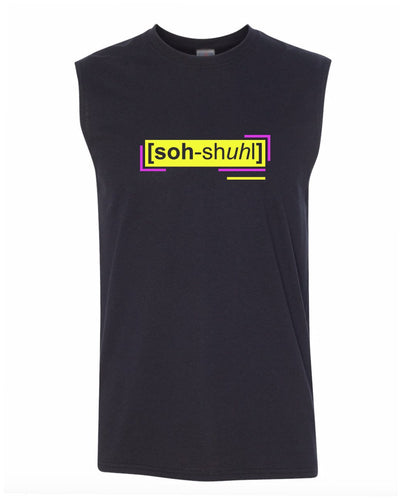 florescent yellow social men's sleeveless tee tank top