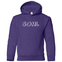 Load image into Gallery viewer, purple SOML youth hooded sweatshirts for girls