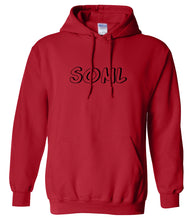 Load image into Gallery viewer, red SOML hooded sweatshirt for women