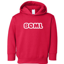 Load image into Gallery viewer, red SOML hooded sweatshirt for toddlers
