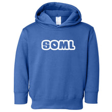 Load image into Gallery viewer, blue SOML hooded sweatshirt for toddlers