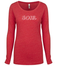 Load image into Gallery viewer, red SOML long sleeve scoop shirt for women