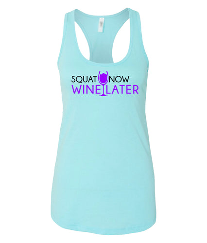 squat now wine later racerback tank top