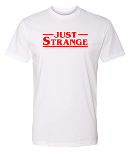 white just strange crewneck t shirt