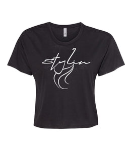 black stylin crop top tee