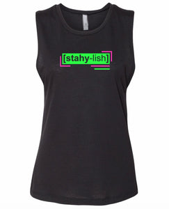 florescent green stylish neon streetwear tank top for women