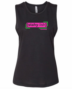 florescent pink stylish neon streetwear tank top for women