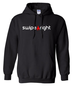 black swipe right hoodie