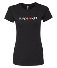 Load image into Gallery viewer, black swipe right crewneck tees for women