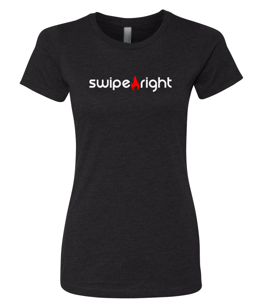 black swipe right crewneck tees for women