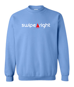 blue swipe right sweatshirt