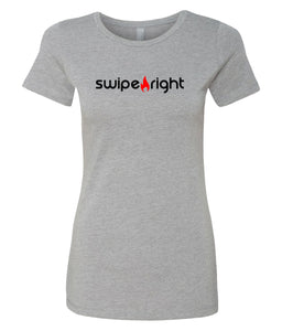 grey swipe right crewneck tees for women